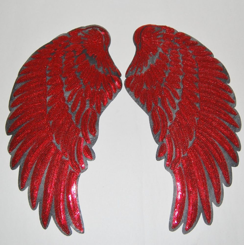 PAIR OF RED SEQUIN ANGEL WNGS, IRON ON.