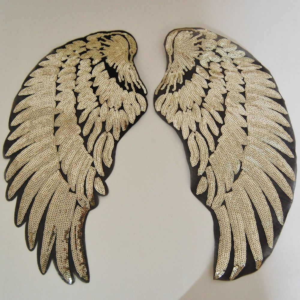 PAIR OF GOLD SEQUIN ANGEL WNGS, IRON ON.