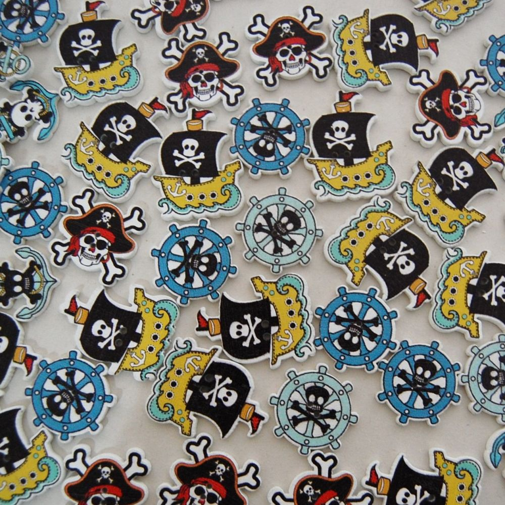 PACK OF 50 MIXED PIRATE BUTTON EMBELLISHMENTS, RESIN 2 HOLE.