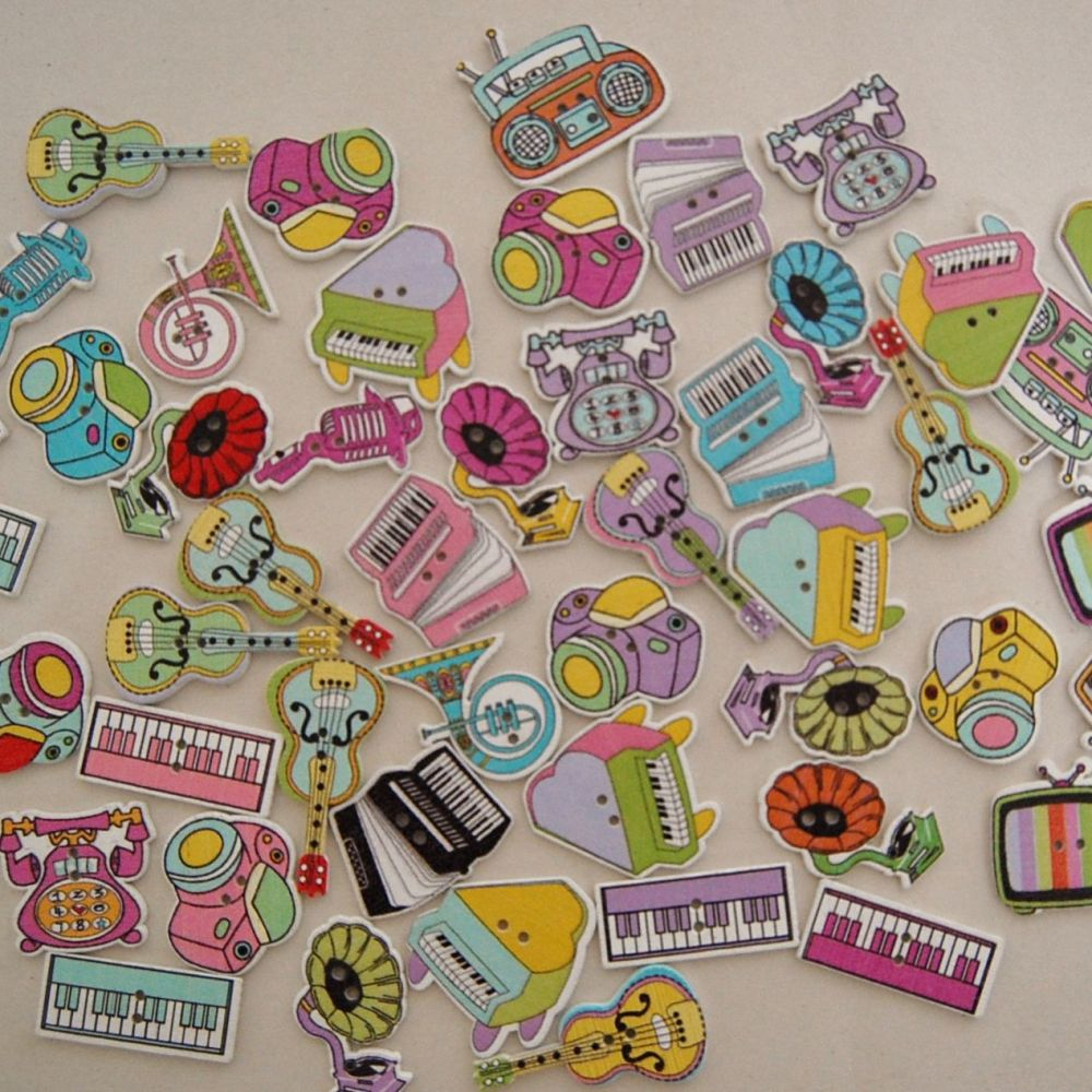 PACK OF 50 MIXED MUSIC/MEDIA BASED BUTTON EMBELLISHMENTS, RESIN 2 HOLE.