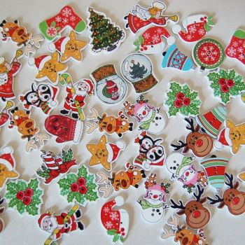 PACK OF 50 MIXED CHRISTMAS BUTTON EMBELLISHMENTS, RESIN 2 HOLE.