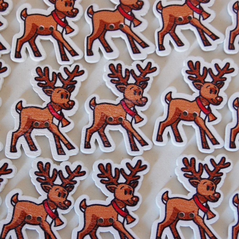 PACK OF 10 REINDEER BUTTON EMBELLISHMENTS, 2 HOLE.