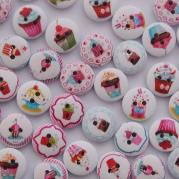 PACK OF 10 CUP CAKE BUTTONS, 15MM - 2 HOLE.