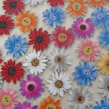 PACK OF 10 LARGE FLOWER BUTTON EMBELLISHMENTS, 25MM.