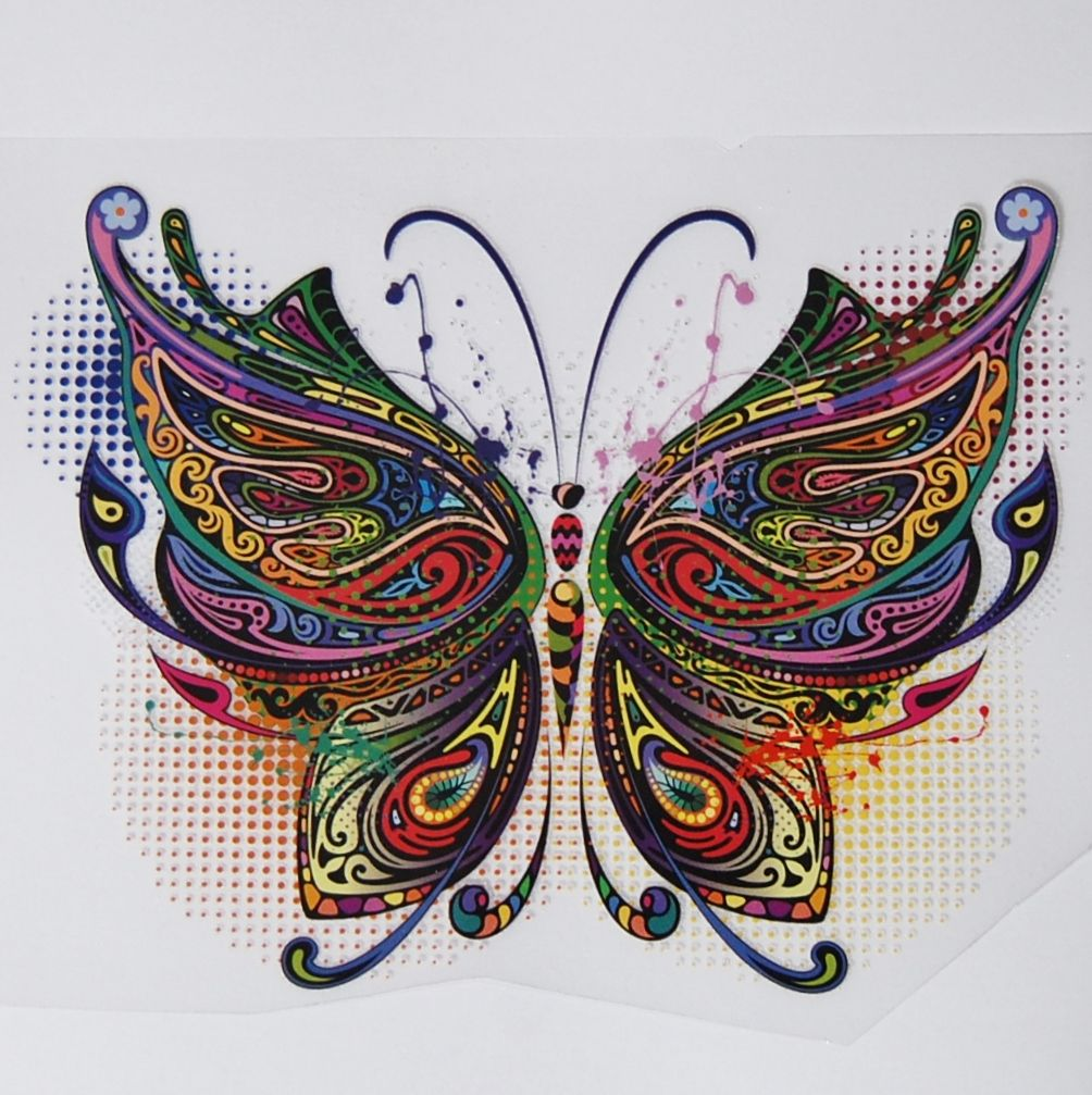 IRON ON BUTTERFLY DECORATION, 17CMS x 12CMS. IDEAL FOR DECORATING CUSHIONS,