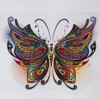 IRON ON BUTTERFLY DECORATION, 17CMS x 12CMS. IDEAL FOR DECORATING CUSHIONS, CLOTHES ETC.