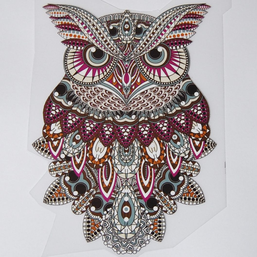 IRON ON OWL DECORATION, 17CMS x 11CMS. IDEAL FOR DECORATING CUSHIONS, CLOTH