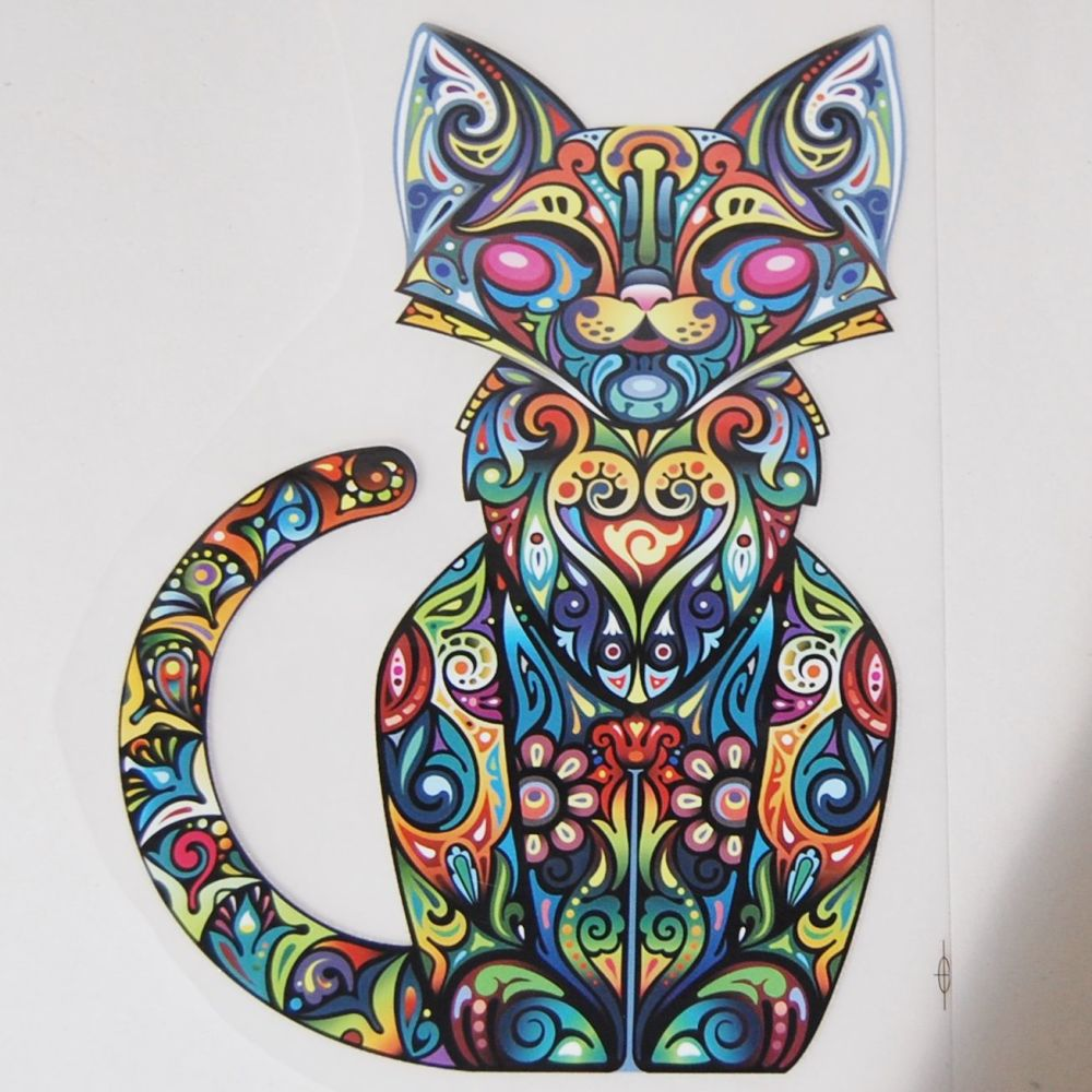 IRON ON FULL CAT DECORATION, 25CMS x 17CMS. IDEAL FOR DECORATING CUSHIONS,