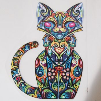 IRON ON FULL CAT DECORATION, 25CMS x 17CMS. IDEAL FOR DECORATING CUSHIONS, CLOTHES ETC.