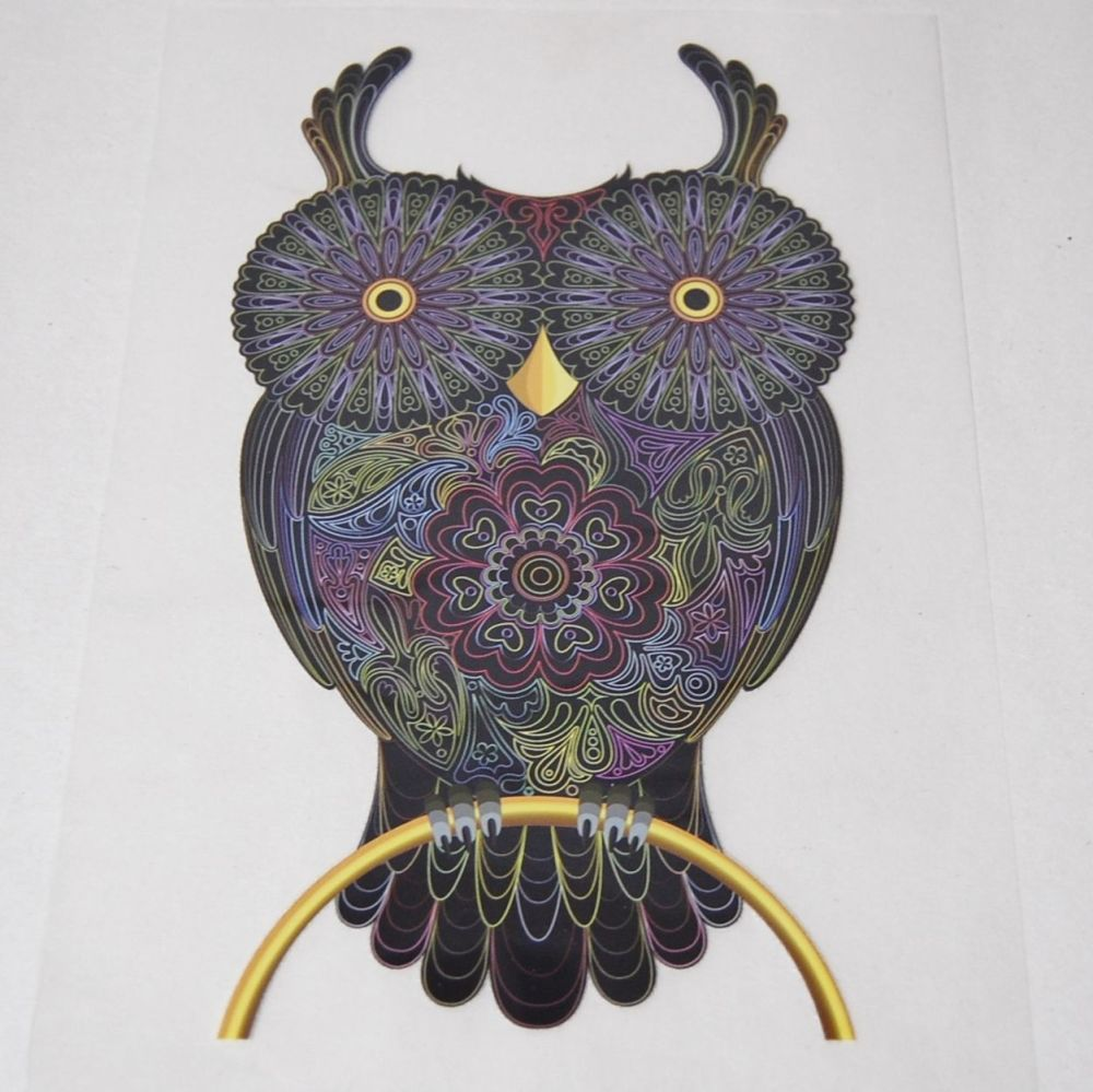 IRON ON OWL ON A PERCH DECORATION, 21CMS x 12CMS. IDEAL FOR DECORATING CUSH