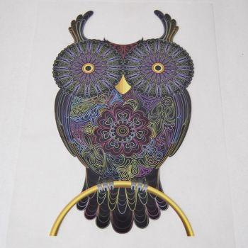 IRON ON OWL ON A PERCH DECORATION, 21CMS x 12CMS. IDEAL FOR DECORATING CUSHIONS, CLOTHES ETC.