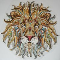 LARGE IRON ON LION HEAD IN AUTUMNAL COLOUR WAY, 23CMS x 23CMS. IDEAL FOR DECORATING CUSHIONS, CLOTHES ETC.