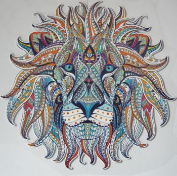 LARGE IRON ON LION HEAD IN VIBRANT COLOUR WAY, 23CMS x 23CMS. IDEAL FOR DECORATING CUSHIONS, CLOTHES ETC.