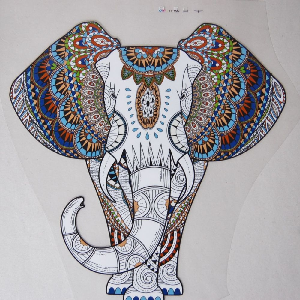 LARGE IRON ON INDIAN ELEPHANT, 21CMS x 20CMS. IDEAL FOR DECORATING CUSHIONS