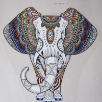LARGE IRON ON INDIAN ELEPHANT, 21CMS x 20CMS. IDEAL FOR DECORATING CUSHIONS, CLOTHES ETC.