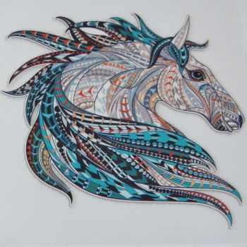 IRON ON HORSE HEAD DECORATION, 8.5CMS x 8CMS. IDEAL FOR DECORATING CUSHIONS, CLOTHES ETC.