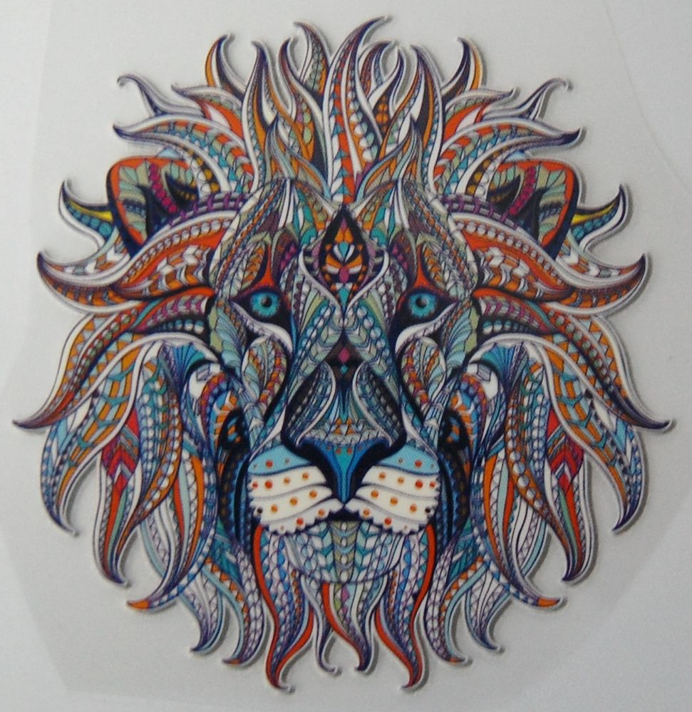 SMALL IRON ON LION HEAD IN VIBRANT COLOUR WAY, 10CMS x 10CMS. IDEAL FOR DEC