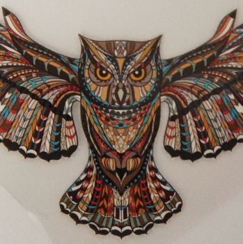 SMALL IRON ON EAGLE OWL IN FLIGHT, 10CMS x 5.5CMS. IDEAL FOR DECORATING CUSHIONS, CLOTHES ETC.