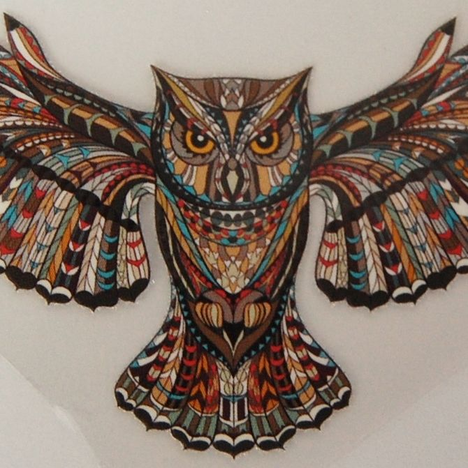 SMALL IRON ON EAGLE OWL IN FLIGHT, 10CMS x 5.5CMS. IDEAL FOR DECORATING CUS