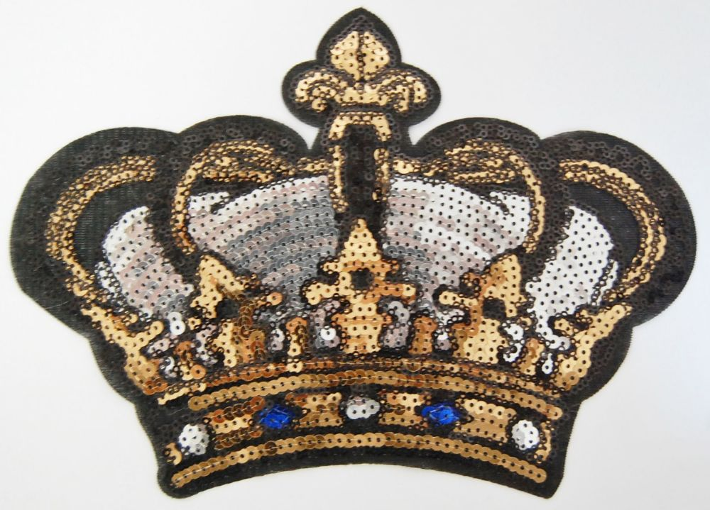 BLACK, SILVER AND ROYAL BLUE CROWN SEQUIN EMBELLISHMENT, SEW ON.