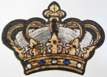 BLACK, SILVER, GOLD AND ROYAL BLUE CROWN SEQUIN EMBELLISHMENT, IRON ON.