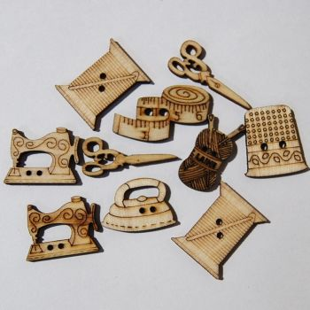 PACK OF 10 WOODEN SEWING BUTTON EMBELLISHMENTS - 2 HOLE.
