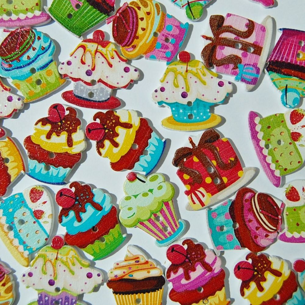 PACK OF 10 CUP CAKE BUTTON EMBELLISHMENTS, 2 HOLE.