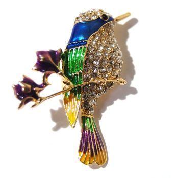 KINGFISHER ENAMEL AND JEWELLED BROOCH.