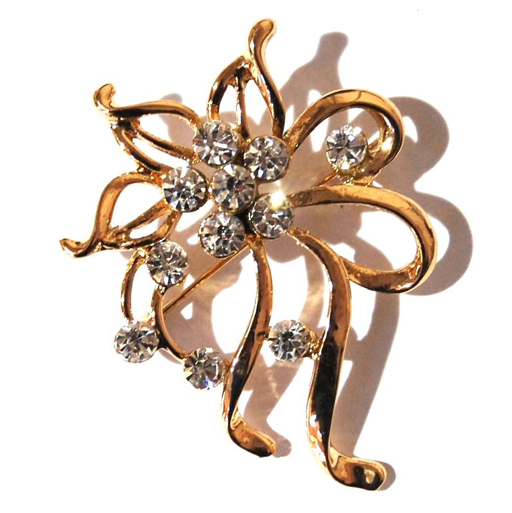 PRETTY JEWELLED FLOWER BROOCH.
