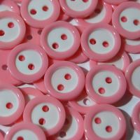 PACK OF 15 2 HOLE 10MM BUTTONS,  IN BABY PINK AND WHITE.
