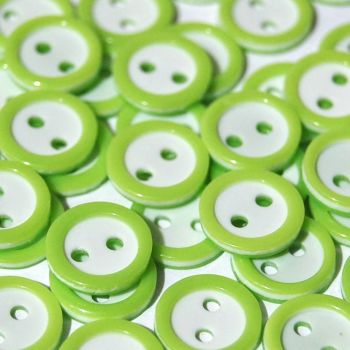 PACK OF 15 2 HOLE 10MM BUTTONS,  IN APPLE GREEN AND WHITE.