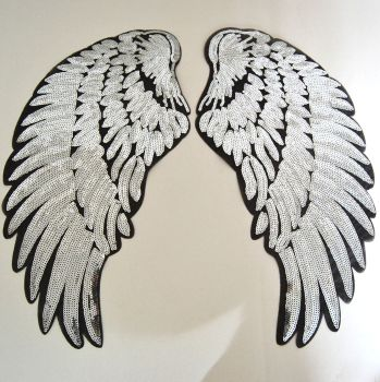***BULK BUY SPECIAL*** TEN PAIRS OF SILVER SEQUIN ANGEL WNGS, IRON ON.