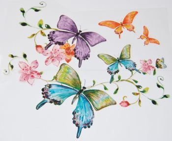 IRON ON BUTTERFLIES,  STYLE A 24CMS x 19CMS. IDEAL FOR DECORATING CUSHIONS, CLOTHES ETC.
