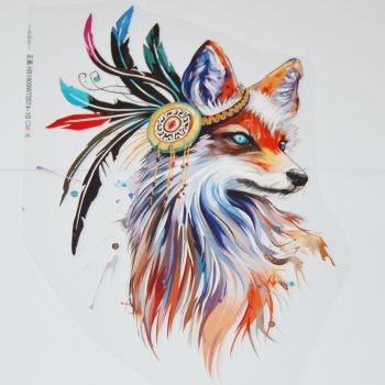 IRON ON INDIAN WOLF, 26CMS x 16CMS. IDEAL FOR DECORATING CUSHIONS, TOTE BAGS, CLOTHES ETC.