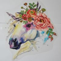 LARGE IRON ON GREY UNICORN, 27CMS x 21CMS. IDEAL FOR DECORATING CUSHIONS, CLOTHES, TOTE BAGS ETC.