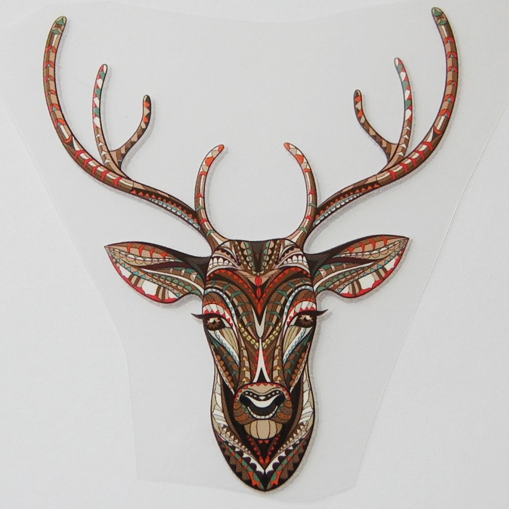 SMALL IRON ON STAG HEAD IN AUTUMNAL COLOUR WAY, 9CMS x 10CMS. SUITABLE FOR