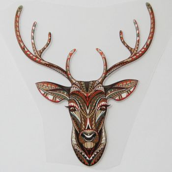 SMALL IRON ON STAG HEAD IN AUTUMNAL COLOUR WAY, 9CMS x 10CMS. SUITABLE FOR DECORATING CLOTHES ETC