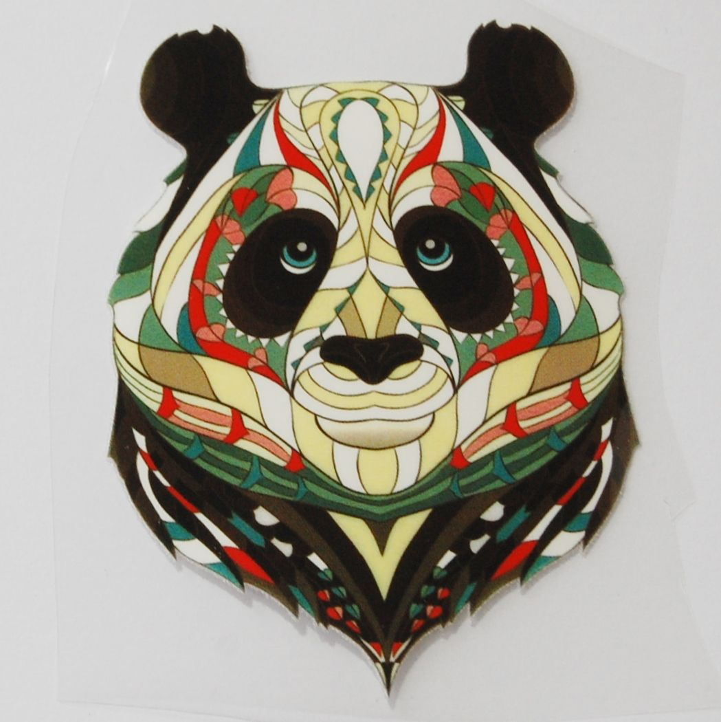 SMALL IRON ON PANDA BEAR, 10CMS x 8CMS. SUITABLE FOR DECORATING CLOTHES ETC