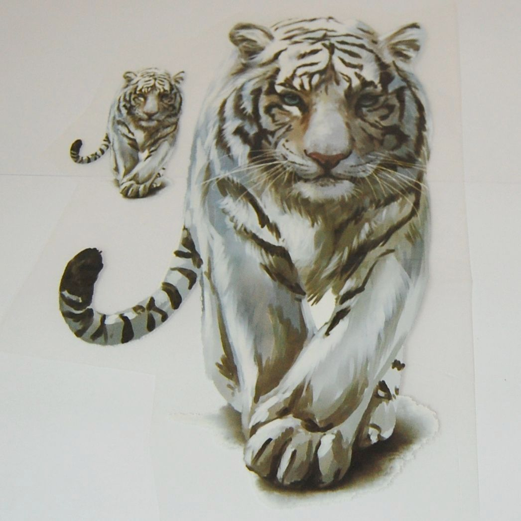 IRON ON TRANSFER, SET OF 2 WHITE TIGERS. IDEAL FOR DECORATING CUSHIONS, TOT