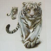 IRON ON TRANSFER, SET OF 2 WHITE TIGERS. IDEAL FOR DECORATING CUSHIONS, TOTE BAGS, CLOTHES ETC.