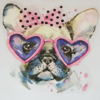 IRON ON TRANSFER, SET OF 2 PUG DOGS. IDEAL FOR DECORATING CUSHIONS, TOTE BAGS, CLOTHES ETC.