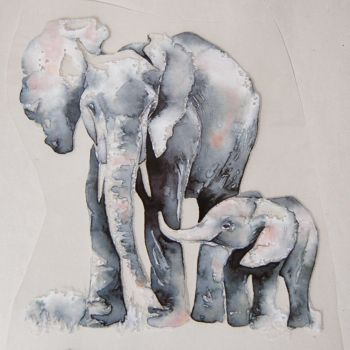 IRON ON HEAT TRANSFER, ELEPHANTS IN WATERCOLOUR STYLE, 21CMS x 17.5CMS. IDEAL FOR DECORATING CUSHIONS, CLOTHES ETC.