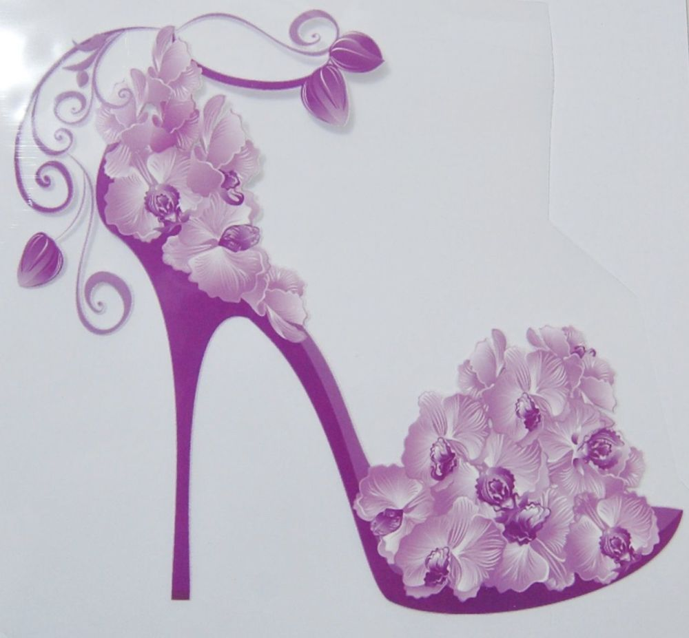 IRON ON HEAT TRANSFER, LILAC FLOWER STILETTO, 21CMS x 18CMS. IDEAL FOR DECO