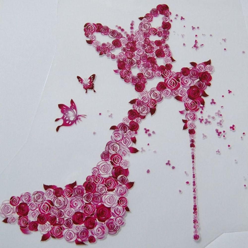 IRON ON HEAT TRANSFER, PINK FLOWER STILETTO, 21CMS x 18CMS. IDEAL FOR DECOR