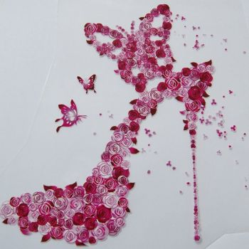 IRON ON HEAT TRANSFER, PINK FLOWER STILETTO, 21CMS x 18CMS. IDEAL FOR DECORATING CUSHIONS, CLOTHES ETC.