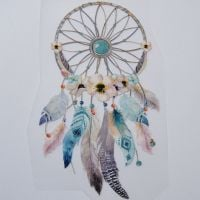 IRON ON HEAT TRANSFER, FEATHER DREAM CATCHER, 20CMS x 11.5CMS. IDEAL FOR DECORATING CUSHIONS, CLOTHES ETC.
