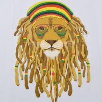 IRON ON HEAT TRANSFER, DREAD LOCK LION, 15CMS x 21CMS. IDEAL FOR DECORATING CUSHIONS, CLOTHES ETC.