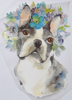 IRON ON HEAT TRANSFER, PUG WITH FLOWERS, 24CMS x 18CMS. IDEAL FOR DECORATING CUSHIONS, CLOTHES ETC.