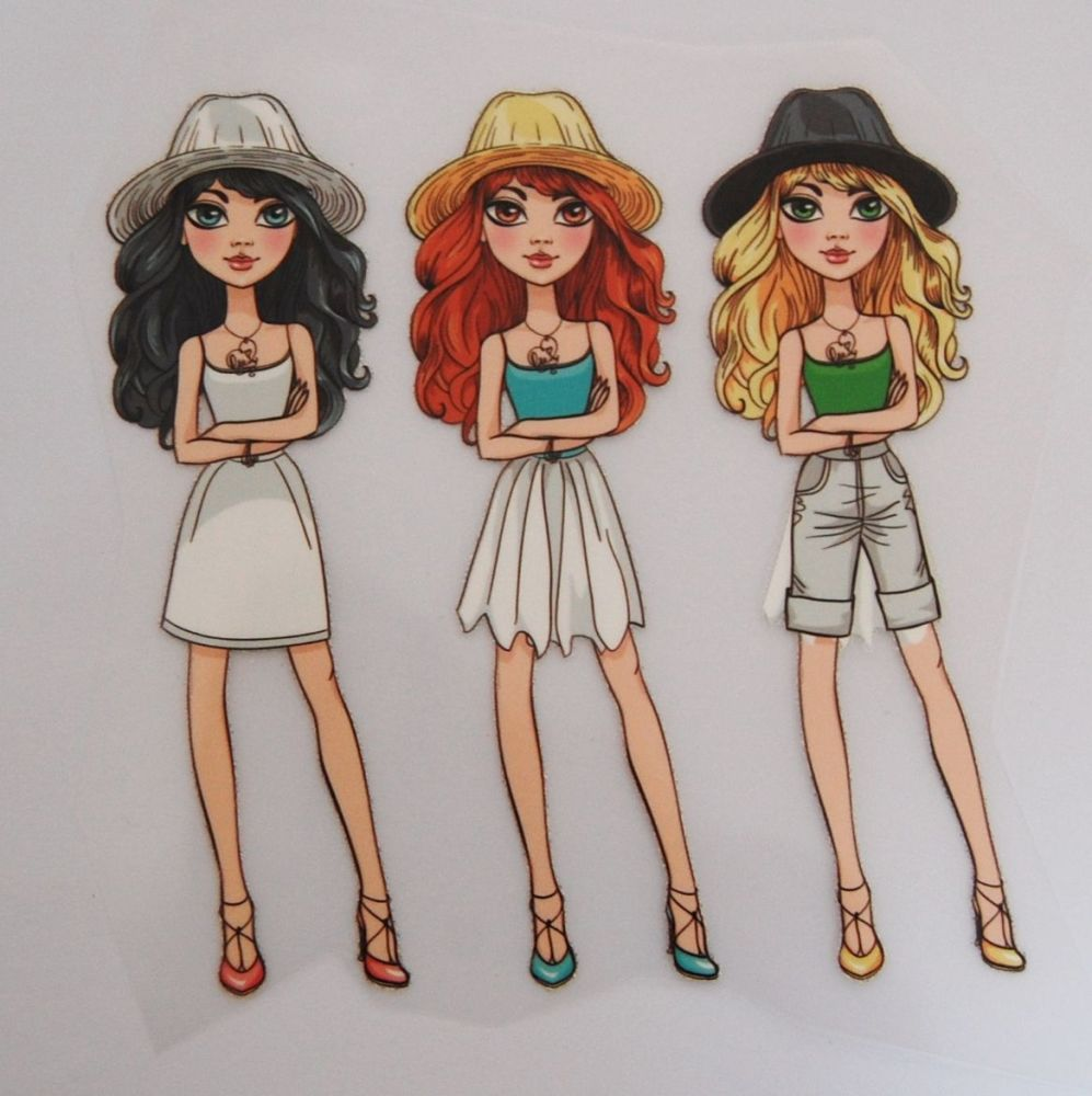 IRON ON TRANSFER 3 GIRLS IN HATS, 11.5CMS x 13CMS. IDEAL FOR DECORATING CUS