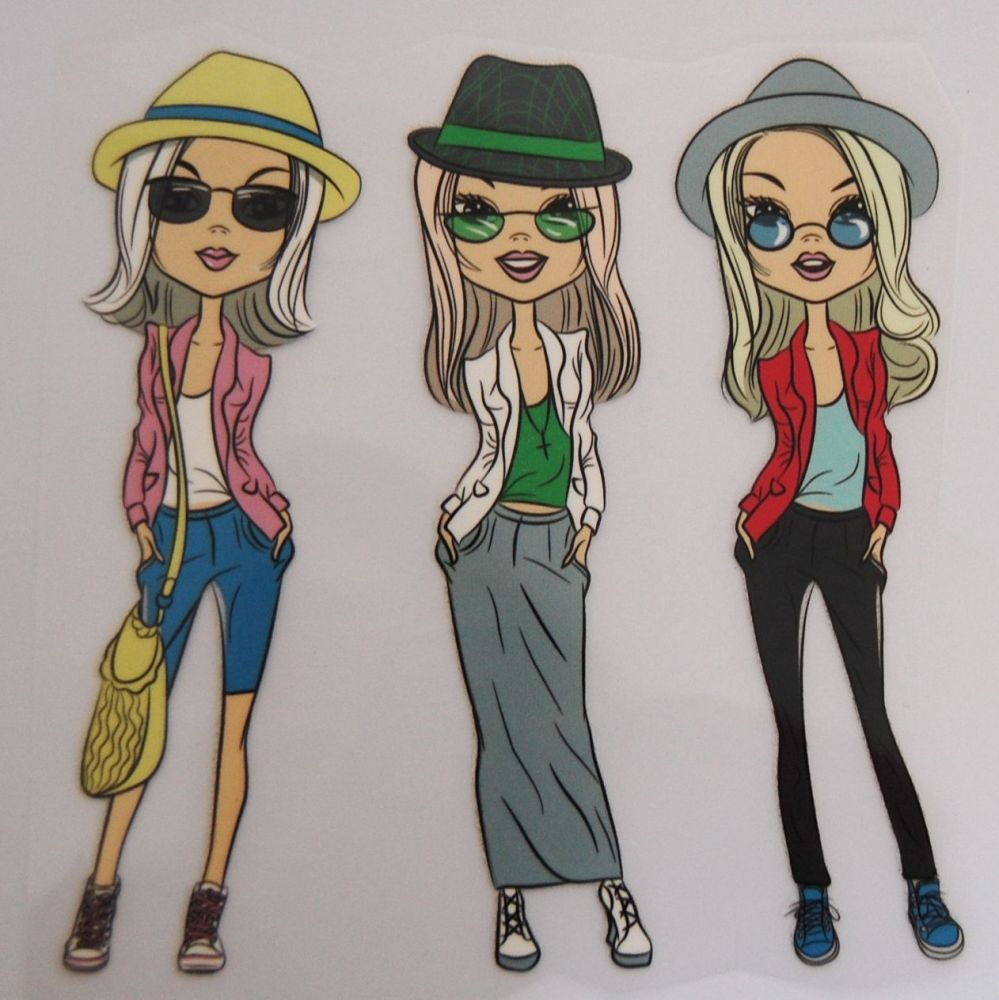 IRON ON TRANSFER 3 GIRLS IN HATS & SHADES, 11.5CMS x 13CMS. IDEAL FOR DECOR